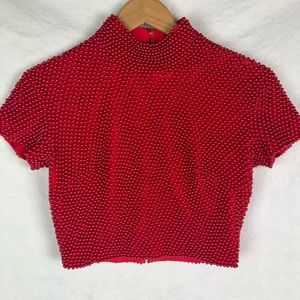 Cache Vintage Red Beaded Crop Top Shirt Club 80's